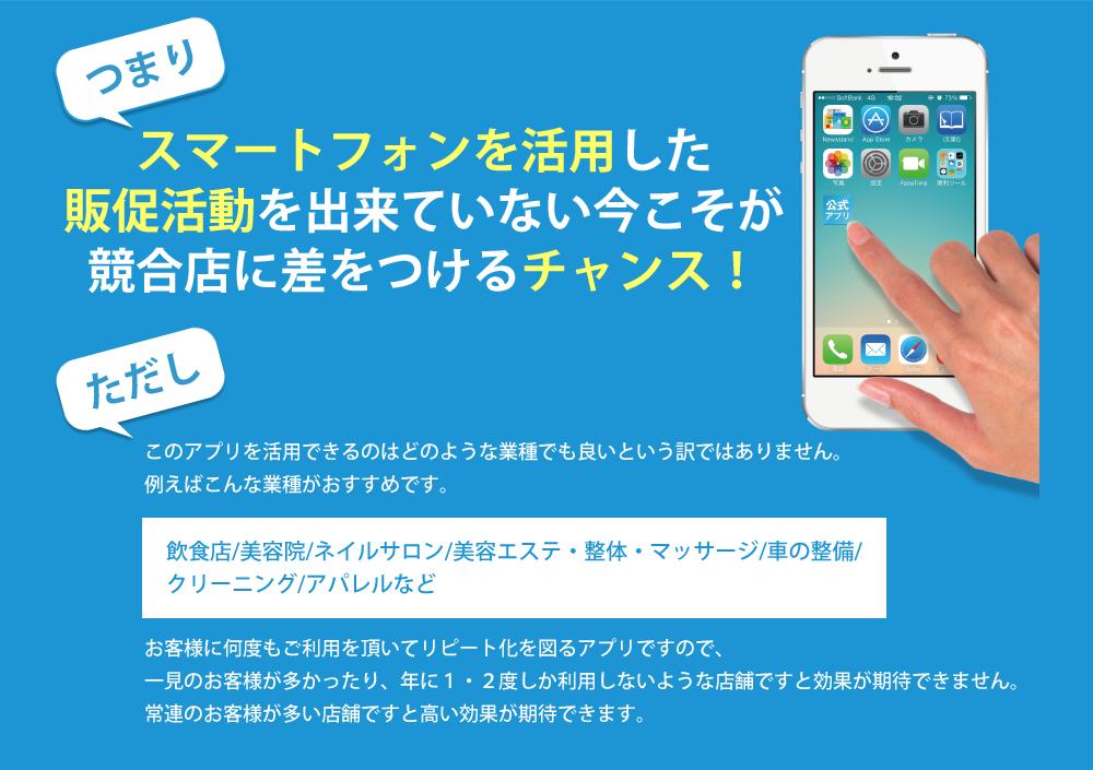 スマートフォンを活用した販促活動を出来ていない今こそが競合店に差をつけるチャンス!
